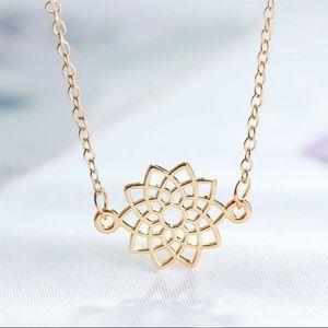 Jewelry - Dainty Gold Zen Lotus Flower Pendant Necklace